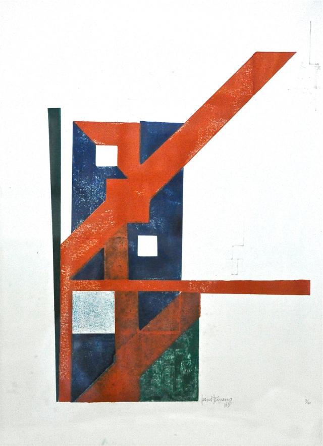 Esquema de circulación en Planta Baja del Centro La Floresta, en Caracas, de Jesús Tenreiro (serigrafía, 1985; 64x48cm.)