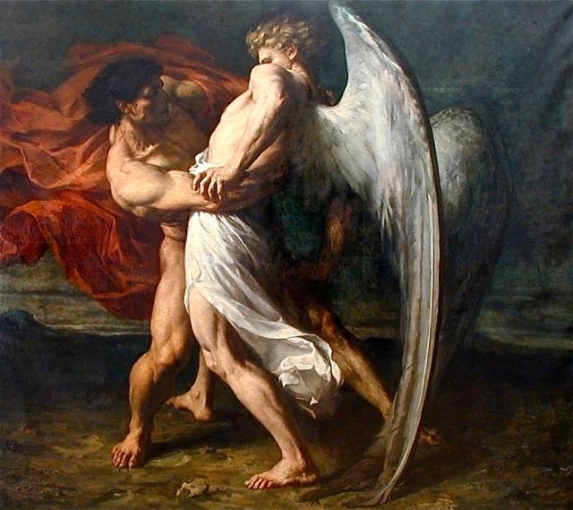 La lucha de Jacob y el Ángel, de Alexandre Louis Leloir (1843-1884)