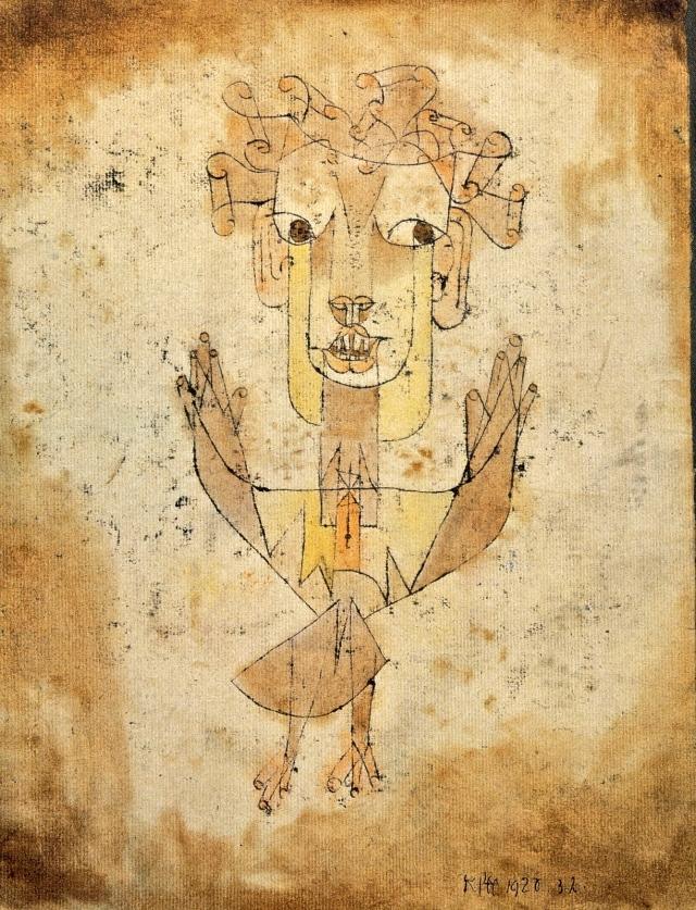 Angelus Novus, grabado de Paul Klee, 31 x 24 cm., pintado en 1920.