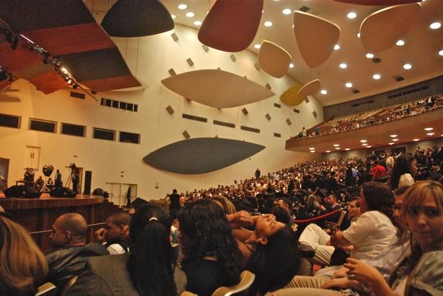 La obra maestra de Villanueva: el Aula Magna de la Ciudad Universitaria.