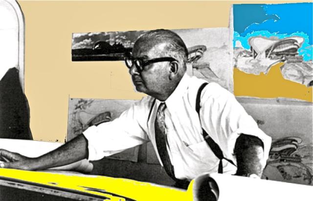 Villanueva en su estudio de la Ciudad Universitaria en 1958. Detrás el Gimnasio Cubierto