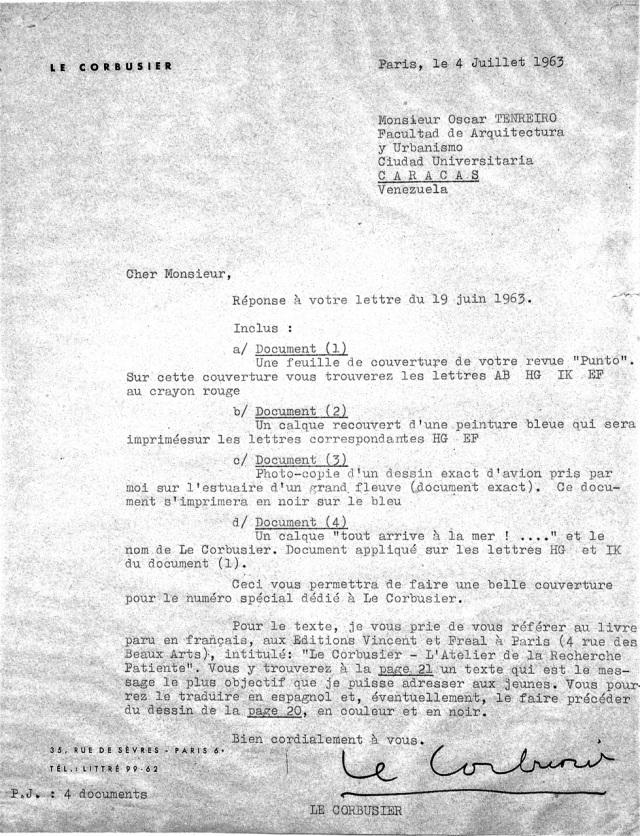 Carta respuesta de Le Corbusier con las instrucciones para el ensamblaje del dibujo