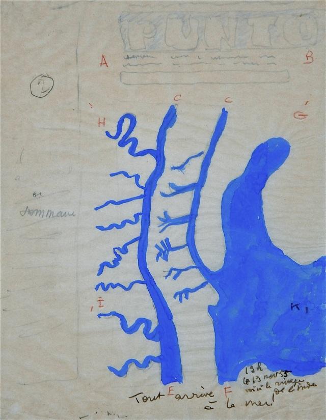 El gouache pintado sobre los demás datos de la portada, delineados en lápíz. Se ven las letras para la inserción de los demás dibujos