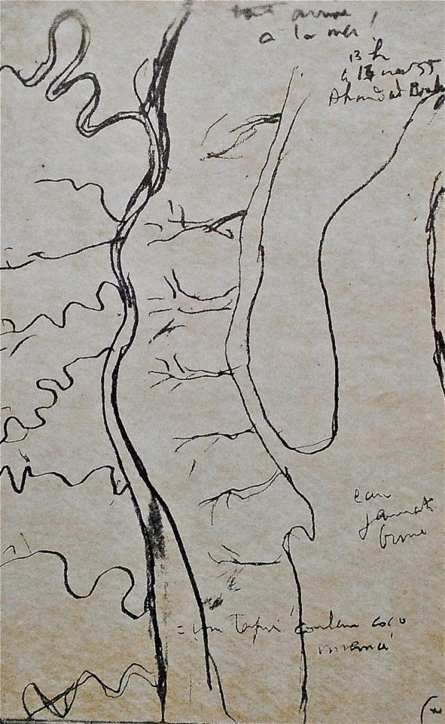 """Fotocopia del dibujo original de los """"carnets de viaje"""" de Le Corbusier: el delta del Ganges, fecha y hora del dibujo"""