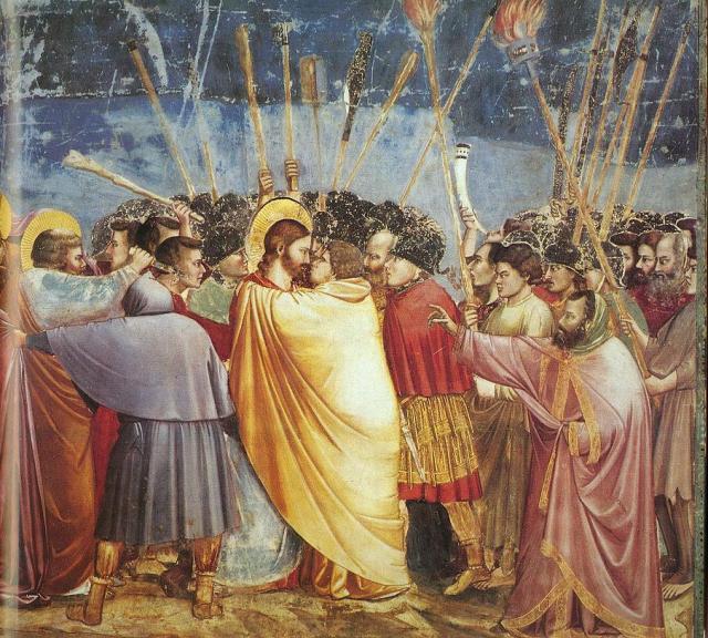 Una clásica imagen de la hipocresía: El beso de Judas, del Giotto (1304-6).