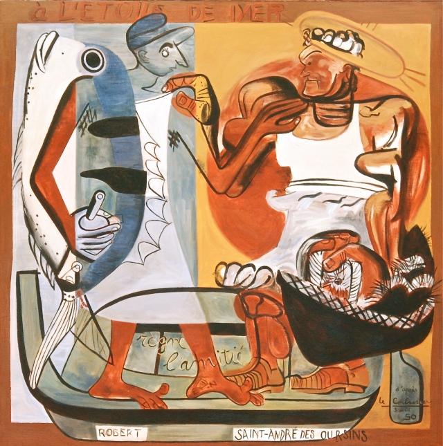 """Corbu y el dueño del tarantín """"L'Etoile de Mer"""", junto a su cabaña mediterránea. Se lee: """"reina la amistad"""", """"Robert"""" (su amigo) y """"San Andrés de los Erizos"""". Fragmento de un mural en la pared externa del tarantín."""