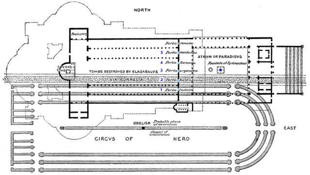 6. San Pedro-Plano de conjunto con los Monumentos Romanos y la Basílica superpuestos