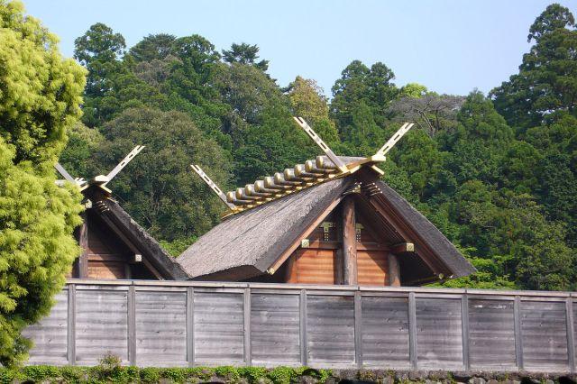 """El """"naiku"""" del Santuario de Ise es de acceso restringido, por eso la foto desde fuera de las vallas protectoras."""