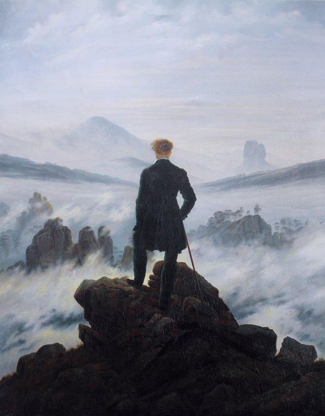 El Caminante sobre el mar de nubes de Caspar David Friedrich (1818)