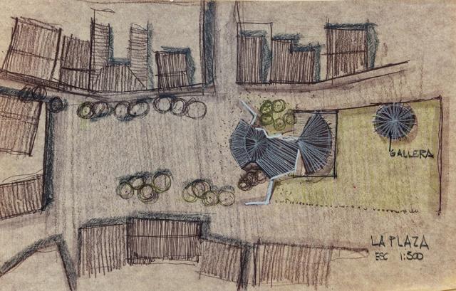 Son dibujos en copias heliográficas quemadas retocadas con lápiz Prismacolor
